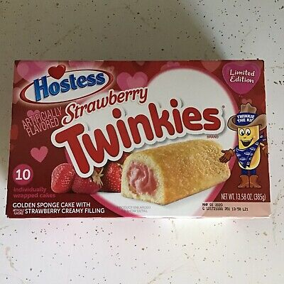 New Limited Edition Valentine's Hostess Strawberry Twinkies 10 Count Exp. 3/1/20