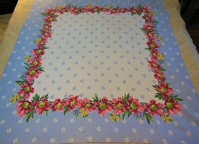 Vintage Tablecloth Pink Daisies Poppies Blue Bachelor Buttons Yellow Buttercups