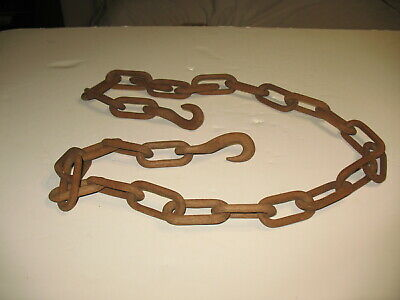Antique Folk Art Hand Carved Walnut Wooden Chain Wood Links With Hook Each End