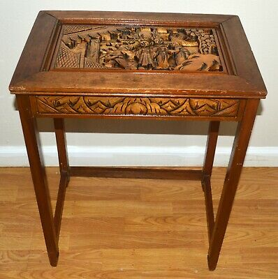 Antique Chinese Hand Carved Corner Table Collectible