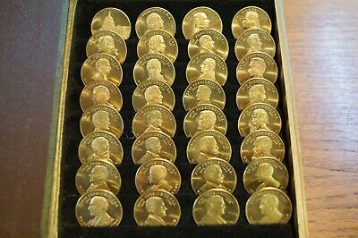 Coin history of US Presidents, 32 brass coins, Washington to FDR c1940. Book dis