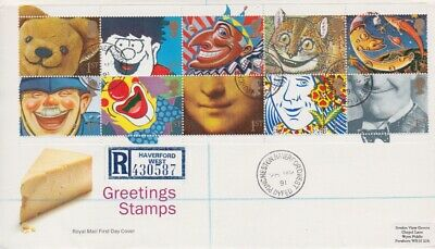 Gb Stamps First Day Cover 1991 Greetings Puncheston Cds Rares Collection