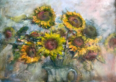 Sunflowers 17x20 In.Acrylic on panel  Hall Groat Sr.
