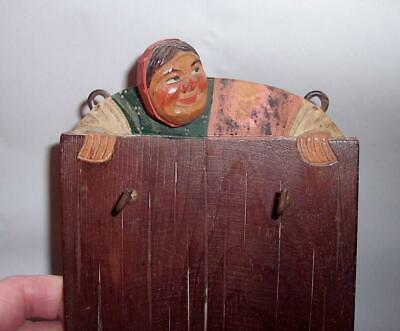 Antique Vintage BLACK FOREST Wooden WATCHING LADY FIGURE Wall Hung KEY HOLDER