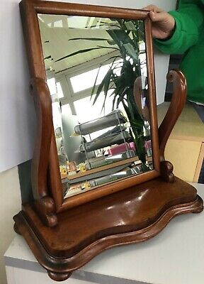 antique edwardian swing dressing table vanity mirror on bun feet Mahogany bevel