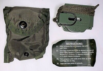 U.S. Army 2003 NOS Model 3H CAMMENGA Magnetic Compass, Instructions and Pouch