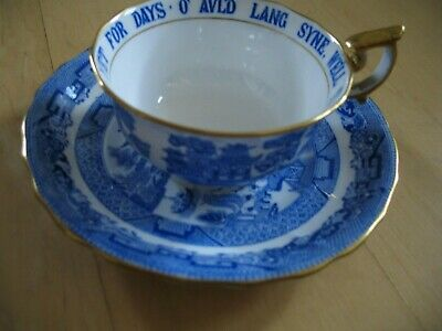 Antique Blue Willow-Spode Copeland China-Tiffany- Auld Lang Syne -Cup and Saucer