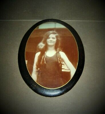 Antique Photograph Pretty Young Girl Long Hair Laminated Oval Tin Frame Sepia