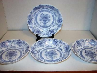 "Arcopal ""Honorine"" Pattern~Lot of 4 Coupe Soup Bowls~Made in France~Vintage"