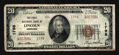 $20 1929 Type 2 The First Nat'l Bank of Lincoln, NEBRASKA Charter no. 1798 VF