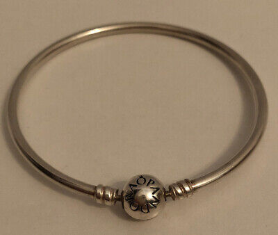 "Pandora Moments Round Clasp Bangle - Sterling Silver, 7.5"" - Charm Bracelet"