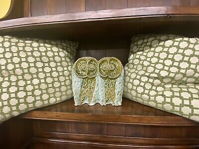 Large Vintage Mid Century Owl Sculpture Two Couple Owls 50s 60s 70s Green Blue