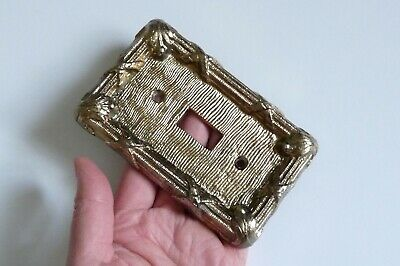 brass metallic color metal one gang switch plate cover tiki bar hut wavy