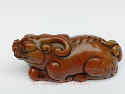 Collection Old China Shoushan Stone Hand Carving Beast Statue Pendant Decoration