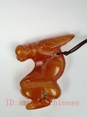 Collection Old China Natural Red Agate Hand Carving Cicada Beast Monster Pendant