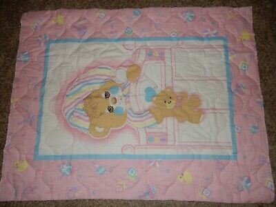 Vintage NEW Teddy Beddy Bear Pink Crib Quilted Comforter Fabric Panel Blanket