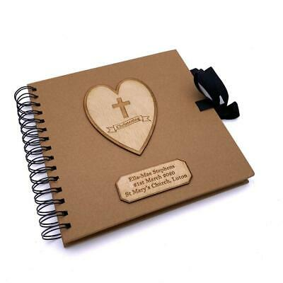 Personalised Brown Christening Day Guest Book With Wooden Engraving