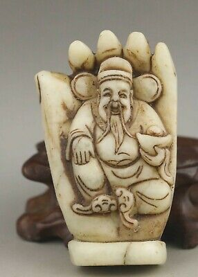 Chinese natural jade hand-carved statue buddha pendant 2.6 inch