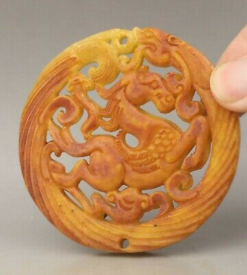 Chinese old natural jade hand-carved statue dragon horse pendant 2.6 inch