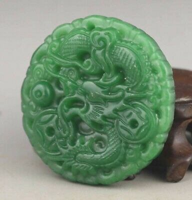 Chinese old green jade hand-carved statue dragon pendant 1.9 inch