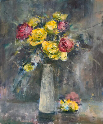 Carnations 24x20 In.Acrylic on panel  Hall Groat Sr.