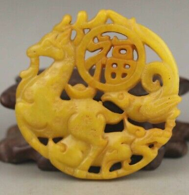 Chinese old natural jade hand-carved statue deer pendant 2.1 inch