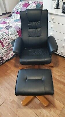Recliner Chair And Footstool Faux Leather Reclining Armchair Matching Foot Stool