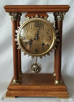 Warmink Pillar Clock Portico Dutch Vintage 8 Day Key Wind Sun Burst Key Wind