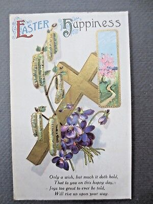 ANTIQUE Greetings Postcard EASTER Happiness Christian Cross Catkins & Violets