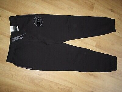 Brand New George Boys Nyc Black Soft Joggers Jogging Bottoms Age 11-12 Yrs