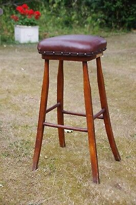 Antique Oak Stool with Splayed Legs and Oxblood Leather studded Seat
