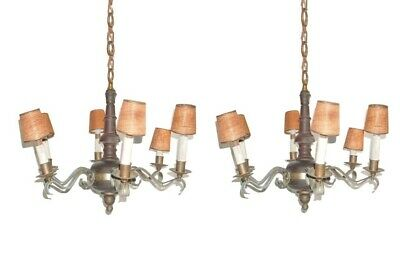 Antique French Country Napoleon III Style Wood & Bronze Chandeliers - a Pair