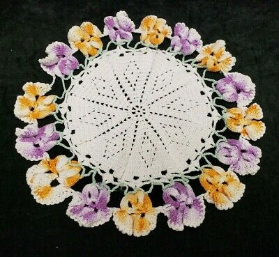 "Vintage Antique Hand Crocheted Lace Doily Tablecloth 11"" Pansies 1940s Find"