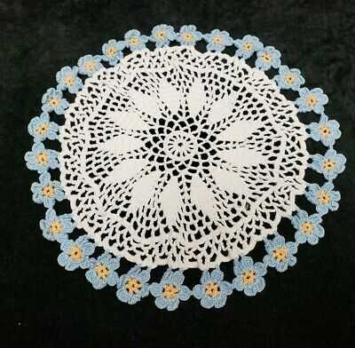 "Vintage Antique Hand Crocheted Lace Doily Tablecloth 11"" Blue Violets 40s Find"