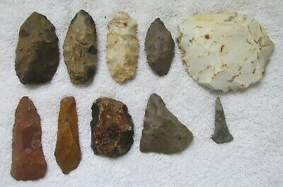 10 Ancients Indian Stone Tools Knife Blades Spear Arrowhead Drill Point Illinois