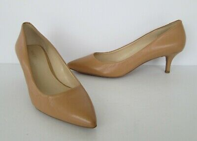 Nine West Womens Camel Beige Leather Pointed Toe Kitten Heels Pumps Shoes 7.5 M