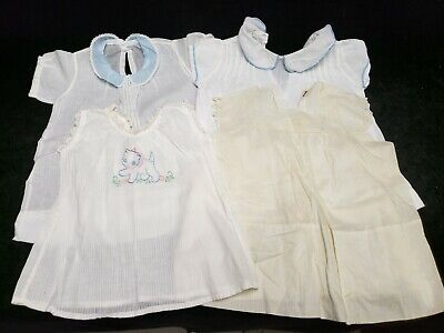 4 pc Vintage Antique Doll Baby Dress 1950s Cotton Batiste Fabric Embroidered