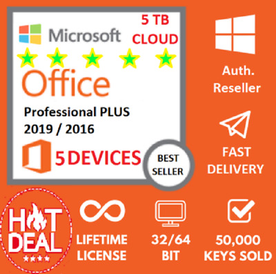 MS Office 365 Pro Plus 2016/2019 PC/Mac/Mobile User Lifetime ESD 5 devices