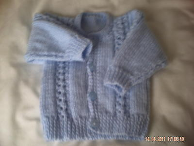 Hand Knitted Blue Baby Cardigan Size 0-3 Months.