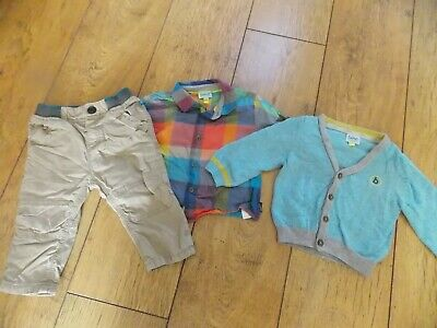 Infant Boys Ted Baker Trousers Shirt Cardigan Age 6-9 Months