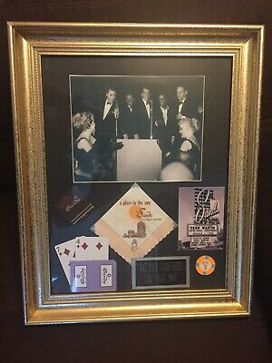 Rat Pack THE SANDS HOTEL Las Vegas 1960 Casino Chip Gold Frame Cards Dean Martin