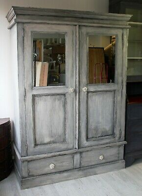 upcycled painted solid pine mirrored double wardrobe french grey dismantles