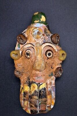 WONDERFUL Antique Mosaic Glass Phoenician Face Head Pendant  #R07