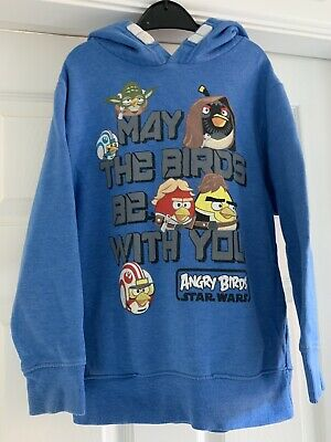 Next Boys blue jumper hoodie Angry birds age 7