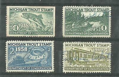 4 different used Michigan trout stamps