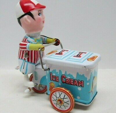 """Vintage Ice Cream Cart Tiny Wind-Up Toy - 260 MS 405 - 4"""" Long"""