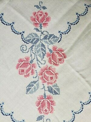 "Vintage Tablecloth Linen Hand Embroidered Roses Pink 40s Era 50x64"" Estate Find"
