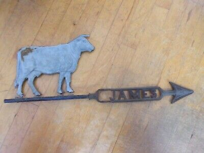 Antique James Cow Weathervane Arrow Farm Barn Rustic Primitive