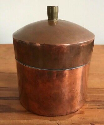 Antique Arts & Crafts Scottish Hand Beaten Heavy Weight Copper Lidded Canister