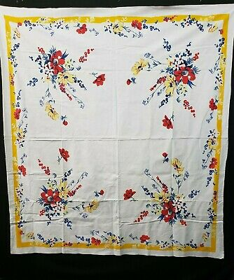 """Vintage Tablecloth Printed Cotton Red Blue Flowers 1940s Era 50x54"""" Estate Find"""
